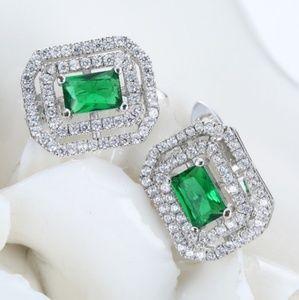 Emerald and CZ drop dangle studs